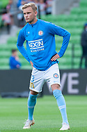 Melbourne City midfielder Nathaniel Atkinson (13) warms up at the Hyundai A-League Round 6 soccer match between Melbourne City FC and Newcastle Jets at AAMI Park in Melbourne.