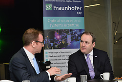 Pictured: Paul Wheelhouse with Fraunhofer Executive Director Simon Andrews.<br /> <br /> Innovation Minister Paul Wheelhouse visits the University of Strathclyde Technology and Innovation Centre to announce Scottish Government funding of over £ 5 million GBP for new technology, including a new state-of-the-art laser lab.<br /> <br /> © Dave Johnston / EEm