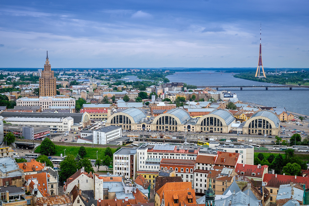RIGA, LATVIA - CIRCA JUNE 2014: Aerial view of Riga in Latvia