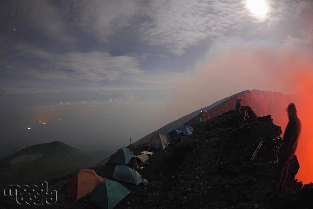 Nyiragongo Volcano  Campsite near crater rim  Congo