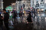 Piccadilly Circus in the rain. London. 7 November 2017