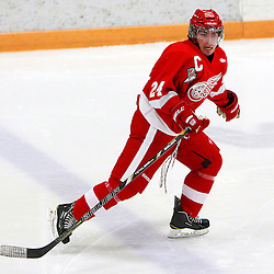 AURORA, ON - Jan 29 : Ontario Junior Hockey League Game Action between the Hamilton Red Wings and the Aurora Tigers, Jason O'Connor #24 of the Hamilton Red Wings Hockey Club.<br /> (Photo by Brian Watts / OJHL Images)
