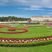 Manicured gardens at Schonbrunn Palace, Vienna, Austria