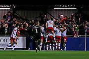 Michael Smith scores a goal to make it 4-3 and Rotherham United celebrate during the The FA Cup match between Solihull Moors and Rotherham United at the Automated Technology Group Stadium, Solihull, United Kingdom on 2 December 2019.