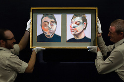 "© Licensed to London News Pictures. 08/04/2016. London, UK. Sotheby's technicians show Francis Bacon's ""Two Studies for a Self-Portrait"", 1970, est. $22-30million at Sotheby's auction preview, at their New Bond Street gallery, of works to be in the upcoming New York Impressionist, modern and contemporary art sale. Photo credit : Stephen Chung/LNP"
