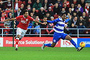 Queens Park Rangers midfielder Leroy Fer and Bristol City midfielder Korey Smith during the Sky Bet Championship match between Bristol City and Queens Park Rangers at Ashton Gate, Bristol, England on 19 December 2015. Photo by Jemma Phillips.