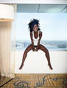 Filmmaker, artist and socialite Nana Agyapong photographed at the Ritz Carlton in downtown Los Angeles, Calif.