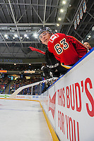 PENTICTON, CANADA - SEPTEMBER 17: Ryan Culkin #63 of Calgary Flames stands on the bench against the Edmonton Oilers on September 17, 2016 at the South Okanagan Event Centre in Penticton, British Columbia, Canada.  (Photo by Marissa Baecker/Shoot the Breeze)  *** Local Caption *** Ryan Culkin;