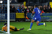 AFC Wimbledon striker Kweshi Appiah (9) celebrates after scoring goal during the EFL Sky Bet League 1 match between AFC Wimbledon and Lincoln City at the Cherry Red Records Stadium, Kingston, England on 2 November 2019.