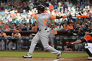 PHOENIX, AZ - AUGUST 26:  Denard Span #2 of the San Francisco Giants wearing a nickname-bearing jersey grounds out to first in the game against the Arizona Diamondbacks at Chase Field on August 26, 2017 in Phoenix, Arizona.  (Photo by Jennifer Stewart/Getty Images)