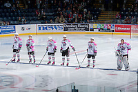 KELOWNA, CANADA - NOVEMBER 8: Ryan Olsen #27, Kris Schmidli #16, Carter Rigby #11, Madison Bowey #4, Colten Martin #8 and Jackson Whistle #1 of the Kelowna Rockets make the starting line up against the Prince George Cougars during Pink Power Play Night on November 8, 2013 at Prospera Place in Kelowna, British Columbia, Canada.   (Photo by Marissa Baecker/Getty Images)  *** Local Caption ***