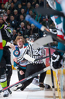 KELOWNA, CANADA -FEBRUARY 7: Ryan Olsen #27 of the Kelowna Rockets gets up off the ice after dropping the gloves with a player of the Edmonton Oil Kings on February 7, 2014 at Prospera Place in Kelowna, British Columbia, Canada.   (Photo by Marissa Baecker/Getty Images)  *** Local Caption *** Ryan Olsen;