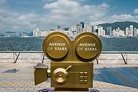 Kowloon, Hong Kong ,China - June 9, 2014: statues Avenue of Stars Tsim Sha Tsui Kowloon in Hong Kong