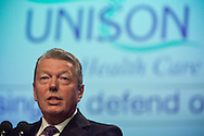 Alan Johnson MP, secretary of State for Health, speaking at the Unison Health Care Service Group Conference..© Martin Jenkinson, tel 0114 258 6808 mobile 07831 189363 email martin@pressphotos.co.uk. Copyright Designs & Patents Act 1988, moral rights asserted credit required. No part of this photo to be stored, reproduced, manipulated or transmitted to third parties by any means without prior written permission.