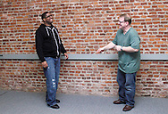 CJ Jones of Riverside (left) and Dwight McCormick of Springfield during a Lofty Aspirations improv class at The Livery in the Oregon Arts District in Dayton, Wednesday, February 15, 2012.