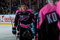 KELOWNA, CANADA - OCTOBER 21: Nolan Foote #29 of the Kelowna Rockets fist bumps the bench after scoring a goal against the Portland Winterhawks on October 21, 2017 at Prospera Place in Kelowna, British Columbia, Canada.  (Photo by Marissa Baecker/Shoot the Breeze)  *** Local Caption ***