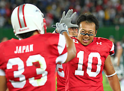 15.07.2011, Ernst Happel Stadion, Wien, AUT, American Football WM 2011, Japan (JAP) vs Mexico (MEX), im Bild Atsushi Fujita (Japan, #33, DB) and Kentaro Azuma  (Japan, #10, LB) after the win // during the American Football World Championship 2011 game, Japan vs Mexico, at Ernst Happel Stadion, Wien, 2011-07-15, EXPA Pictures © 2011, PhotoCredit: EXPA/ T. Haumer
