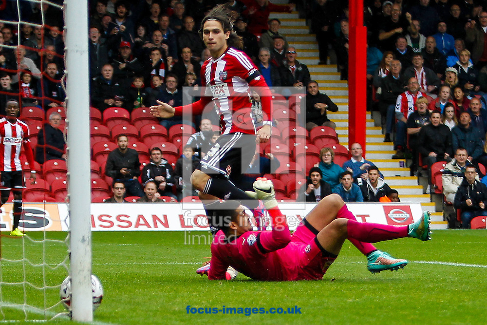 Jota of Brentford scores the opening goal during the Sky Bet Championship match between Brentford and Reading at Griffin Park, London<br /> Picture by Mark D Fuller/Focus Images Ltd +44 7774 216216<br /> 04/10/2014