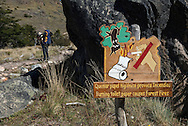 Fire risk: sign warning against burning toilet paper. El Chalten/Fitzroy area, Los Glaciares national park, Patagonia, Argentina