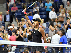 September 6, 2018 - Flushing Meadow, NY, U.S. - FLUSHING MEADOW, NY - SEPTEMBER 06:  Naomi Osaka (JPN) waves to fans after winning her semi-final match in the Women's Singles Championships at the US Open on September 06, 2018, at the Billie Jean King Tennis Center in Flushing Meadow, NY. (Photo by Cynthia Lum/Icon Sportswire) (Credit Image: © Cynthia Lum/Icon SMI via ZUMA Press)