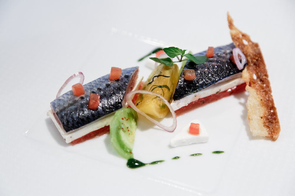 Tokyo, June 24 2013 - Sardine cooked by Signature restaurant chef Nicola Boujema at Mandarin Oriental.