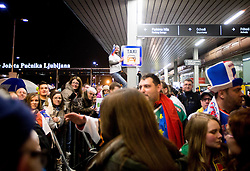 Fans at reception of Slovenia team arrived from Winter Olympic Games Sochi 2014 on February 19, 2014 at Airport Joze Pucnik, Brnik, Slovenia. Photo by Vid Ponikvar / Sportida