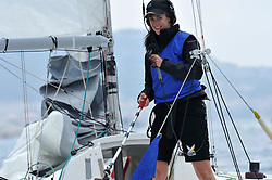 Hannah White provides live commentary from board. Photo:Chris Davies/WMRT