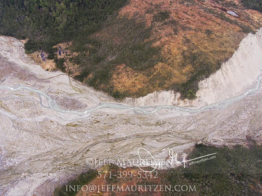 Aerial view of UNESCO biosphere reserve in Alberto de Agostini National Park, Chile.