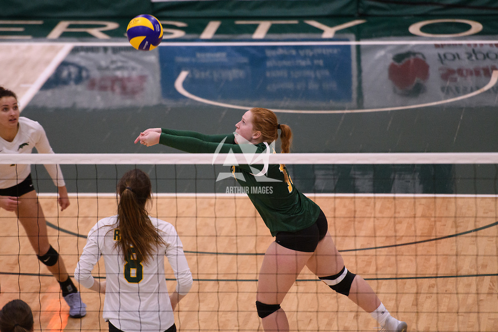 4th year libero  Taylor Ungar (13) of the Regina Cougars in action during Women's Volleyball home game on January 12 at Centre for Kinesiology, Health and Sport. Credit: /Arthur Images 2018