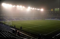 White Hart Lane, home of Tottenham Hotspur, is submerged in fog - Mandatory byline: Robbie Stephenson/JMP - 07966 386802 - 02/11/2015 - FOOTBALL - White Hart Lane - London, England - Tottenham Hotspur v Aston Villa - Barclays Premier League