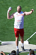 Tomasz Majewski of Poland competes in men's shot put qualification during the First Day of the European Athletics Championships Zurich 2014 at Letzigrund Stadium in Zurich, Switzerland.<br /> <br /> Switzerland, Zurich, August 12, 2014<br /> <br /> Picture also available in RAW (NEF) or TIFF format on special request.<br /> <br /> For editorial use only. Any commercial or promotional use requires permission.<br /> <br /> Photo by © Adam Nurkiewicz / Mediasport