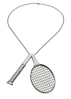 Silver tennis necklace on white background