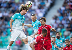 Rene Krhin of Slovenia and Jasmin Kurtic of Slovenia vs Bjorn Kristensen of Malta during football match between National teams of Slovenia and Malta in Round #6 of FIFA World Cup Russia 2018 qualifications in Group F, on June 10, 2017 in SRC Stozice, Ljubljana, Slovenia. Photo by Vid Ponikvar / Sportida