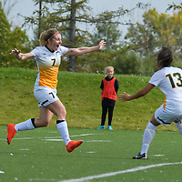 3rd year forward Brianna Wright (7) of the Regina Cougars  celebrates after scoring the equalizing goal during the 31st minute of the Women's Soccer Homeopener on September 10 at U of R Field. Credit: Arthur Ward/Arthur Images