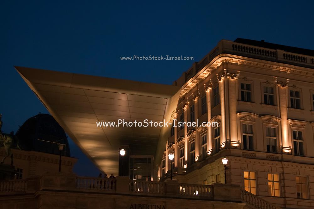 exterior of the Albertina Museum, Vienna, Austria at night
