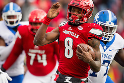Louisville quarterback Lamar Jackson is sacked in the second half by Kentucky defensive tackle Naquez Pringle. The University of Louisville hosted Kentucky, Saturday, Nov. 26, 2016 at Papa John's Cardinal Stadium in Louisville. Kentucky won the game 41-38.
