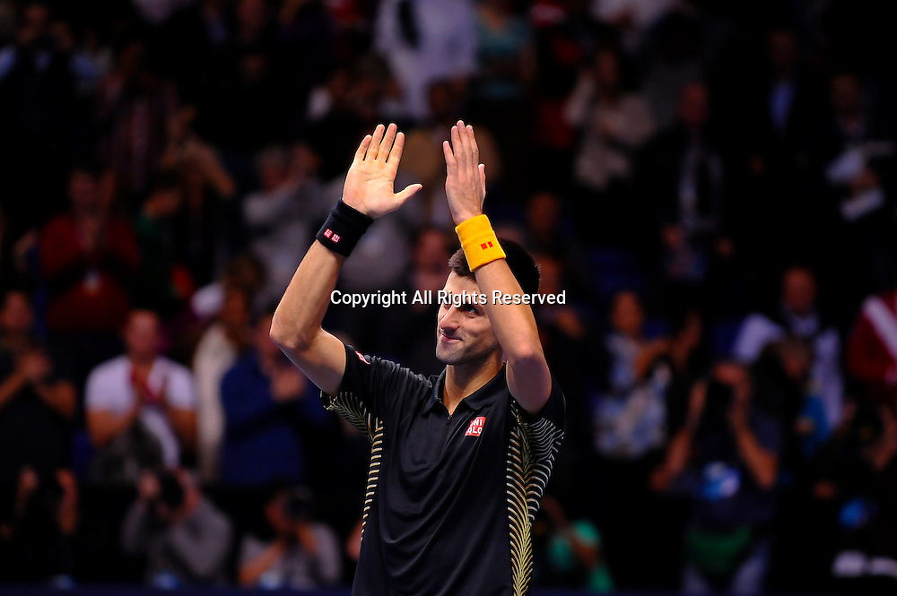 11.11.2012 London, England. Serbias Novak Djokovic celebrates winning against Argentinas Juan Martin del Potro during the first Semi Final of the Barclays ATP World Tour Finals at The O2 Arena.