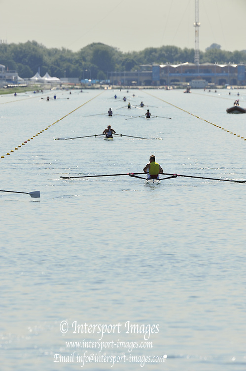 Eton Dorney, Windsor, Great Britain,..2012 London Olympic Regatta, Dorney Lake. Eton Rowing Centre, Berkshire[ Rowing]...Description; . Start Area, Crews Training. 11:55:28   Wednesday  25/07/2012..[Mandatory Credit: Peter Spurrier/Intersport Images].