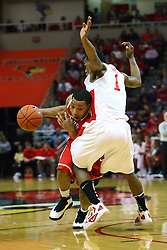 04 February 2012:  Dyricus Simms-Edwards muscles in on Tyler Brown during an NCAA Missouri Valley Conference mens basketball game where the Bradley Braves lost to the Illinois State Redbirds 78 - 48 in Redbird Arena, Normal IL