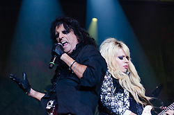 © Licensed to London News Pictures. 28/10/2012. London, UK.   Alice Cooper performing live at Wembley Arena for Alice Cooper's Halloween Night of Fear.  Alice Cooper (born Vincent Damon Furnier; February 4, 1948) is an American rock singer, songwriter and musician whose career spans more than four decades. With a stage show that features guillotines, electric chairs, fake blood, boa constrictors, and baby dolls, Cooper has drawn equally from horror movies, vaudeville and garage rock to pioneer a grandly theatrical and violent brand of heavy metal designed to shock. Photo credit : Richard Isaac/LNP