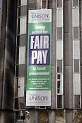Unison Headquarters Euston London Fair Pay banner
