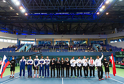 04.04.2014, Aegon Arena, Bratislava, SVK, ITF, Davis Cup, Slowakei vs Oesterreich, 2. Runde, Europa-Afrika-Zone I, im Bild Eröffnungszeremonie // Eröffnungszeremonie during the 2nd round of Europe Africa zone one of ITF Davis Cup between Slovakia and Austria at the Aegon Arena in Bratislava, Slovakia on 2014/04/04. EXPA Pictures © 2014, PhotoCredit: EXPA/ Michael Gruber