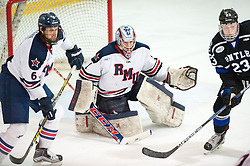 March 12 2016: Robert Morris Colonials goalie Terry Shafer (1) tends goal during the second period in game two of the Atlantic Hockey quarterfinals series between the Bentley Falcons and the Robert Morris Colonials at the 84 Lumber Arena in Neville Island, Pennsylvania (Photo by Justin Berl)