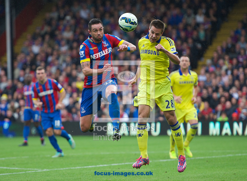 Stuart O'Keefe of Crystal Palace  and Cesar Azpilicueta of Chelsea during the Barclays Premier League match at Selhurst Park, London<br /> Picture by Alan Stanford/Focus Images Ltd +44 7915 056117<br /> 18/10/2014