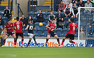 Raith&rsquo;s Lewis Vaughan fires home his side's equaliser - Raith Rovers v Dundee, Betfred Cup at Starks Park, Kirkcaldy, Photo: David Young<br /> <br />  - &copy; David Young - www.davidyoungphoto.co.uk - email: davidyoungphoto@gmail.com