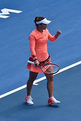 January 7, 2017 - Auckland, Auckland, New Zealand - Lauren Davis of USA celebrating wining a point during her single final match against Ana Konjuh of Croatia at the WTA ASB Classic tennis tournament in Auckland, New Zealand on Jan 7. She claims the champion title after a 6-3 6-1 victory over Ana Konjuh. (Credit Image: © Shirley Kwok/Pacific Press via ZUMA Wire)