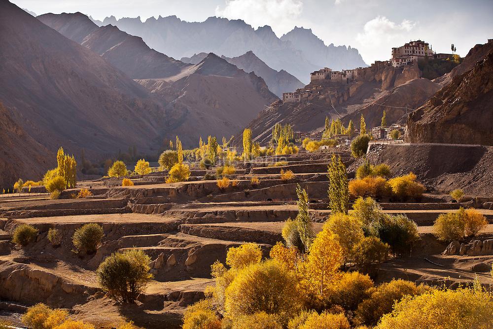 Autumn view of Yangrung Monastery in Lamayuru Ladakh, India.