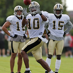 01 August 2009: New Orleans Saints wide receiver Skyler Green (10) looks to catch a pass during New Orleans Saints training camp at the team's practice facility in Metairie, Louisiana.