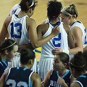 11/11/11 Newark DE: Delaware (Top) huddles up during a week one NCAA Women's College basketball game, Friday, Nov. 11, 2011 at the Bob carpenter center in Newark Delaware...Delaware would go on to defeat the Rhode Island rams 89-53...Special to The News Journal/SAQUAN STIMPSON