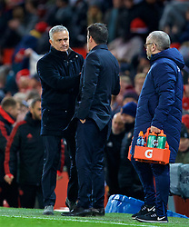 MANCHESTER, ENGLAND - Sunday, October 28, 2018: Manchester United's manager Jose Mourinho shakes hands with Everton's manager Marco Silva after during the FA Premier League match between Manchester United FC and Everton FC at Old Trafford. Manchester United won 2-1. (Pic by David Rawcliffe/Propaganda)
